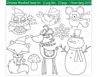 Christmas Digital Stamps,Digital Stamps,Reindeer Digital Stamps,Snowman Digital Stamps,Christmas Clipart,Christmas Stamps,Fox,Commercial(S5)