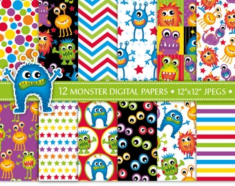 Monster Digital Paper,Alien Digital Paper,Cute Monster Patterns,Fun Papers,Monster Party,Backgrounds,Scrapbook Papers,Commercial Use (P18)