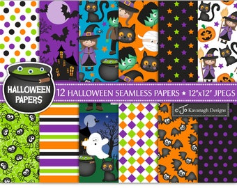 Halloween digital papers, Halloween papers, Halloween patterns, Halloween scrapbook papers, Halloween backgrounds, Commercial Use (P13)