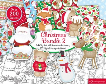 Christmas clipart Bundle, Christmas digital paper, Christmas digital stamps, Christmas Patterns, Scrapbooking,Commercial Use (B2)