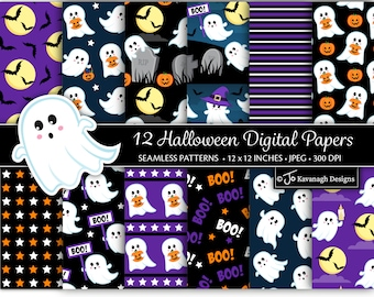 Halloween Digital Paper, Halloween Patterns, Digital Paper, Ghost, Halloween Backgrounds, Halloween Scrapbook Paper, Commercial Use (P55)
