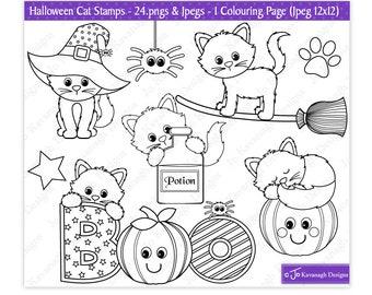 Halloween Digital Stamps, Halloween Cat Digital Stamps, Cat Digital Stamps, Halloween Stamps, Cat Stamps, Cat Clipart, Commercial Use (S36)