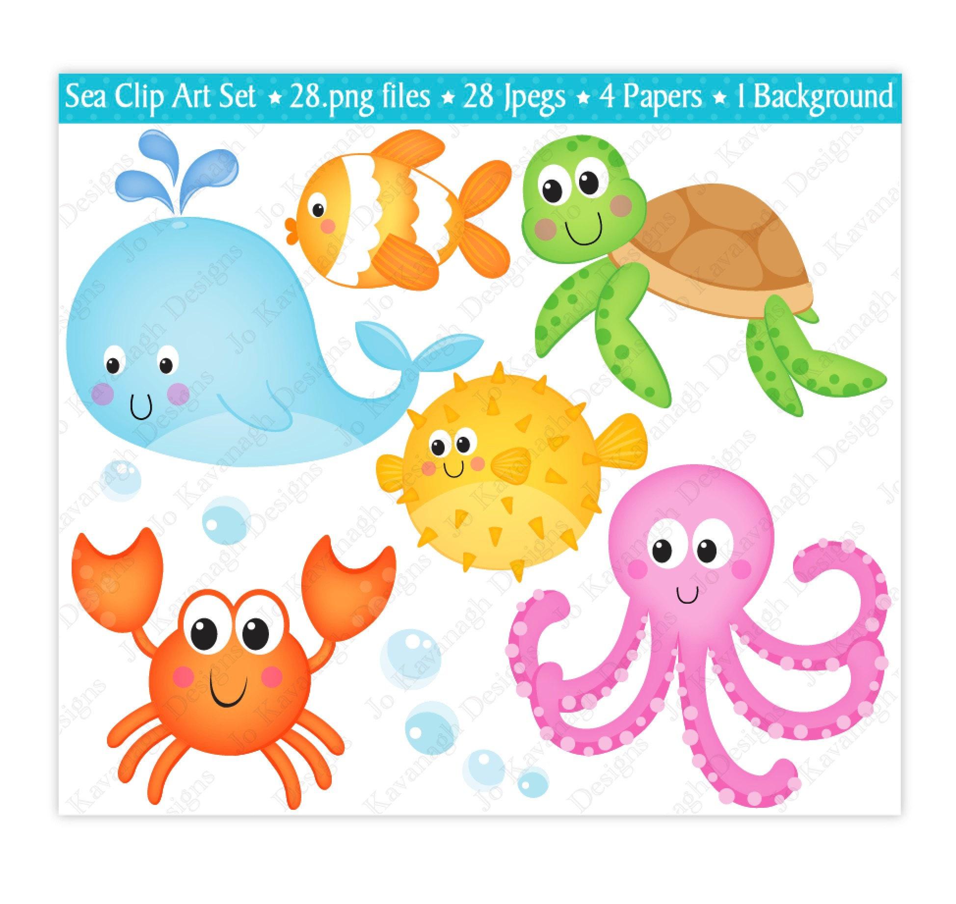 sea animals clip art under the sea clipart under the sea digital rh etsystudio com sea animals clip art free sea animal clipart