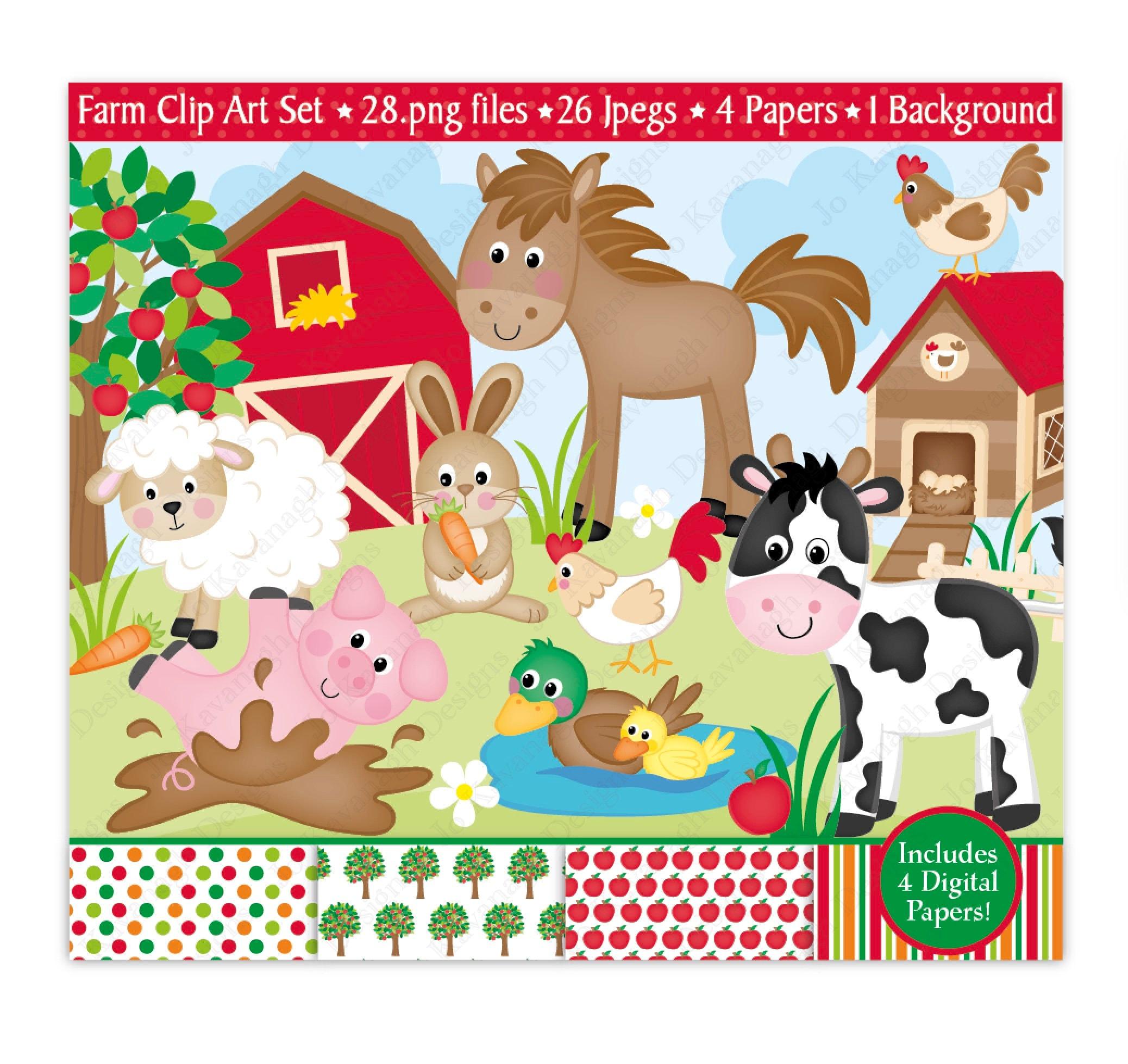 Bauernhof Clipart Bauernhof Tier Digital Papiere Bauernhof | Etsy
