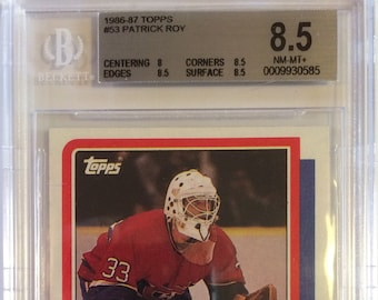 a6887e349 Patrick Roy Rookie 1986   87 Topps  53 Hockey Card Graded BGS NM MT+ 8.5 - Montreal  Canadiens