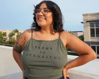 Brown Is Beautiful Green and Black Cropped Tank Top Nalgona Positivity Pride (3XL-4XL)