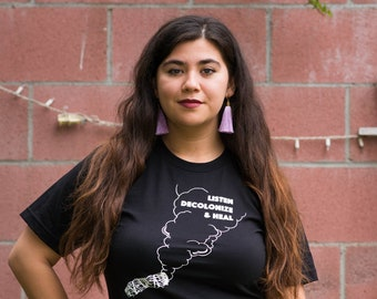 Listen, Decolonize, & Heal Shirt with Burning Sage Image Shirt
