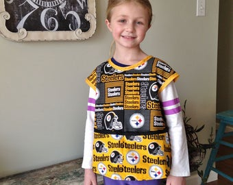 Steelers kids Craft Smock, Football craft apron, Special Needs Bib, Craft Smock, Paint Smock, School Art Smock, Child Art Smock