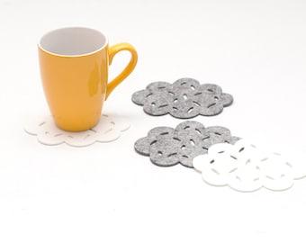 Felt Coasters / Set of 4 Coasters / Set of 6 Coasters / Clouds / Gray Coasters