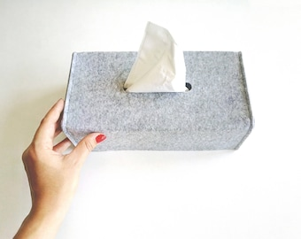 Tissue Box Cover / Felt Tissue Holder / Napkin Holder / Gray Box Case / Bathroom Organization