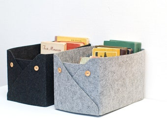 Storage Baskets with Buttons / Set of 2 Felt Baskets / Household Storage / Felt Storage Bin  / Felt box / Possible in Custom Size