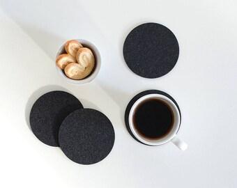 Set felt Coasters / Drink Coasters / Minimalist Black or Gray Coasters