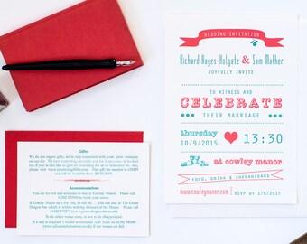 Letterpress wedding invitation, green + red, printed invitation, vintage invitation