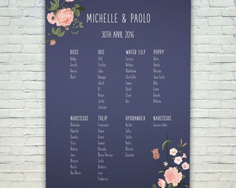 Navy floral wedding table plan, mounted seating chart