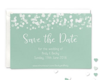 Save the date wedding magnet or card, mint glittering lights design