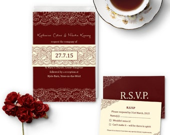 Printed wedding invitation suite set, burgundy & ivory lace design, 3 pages + belly band, more colours available