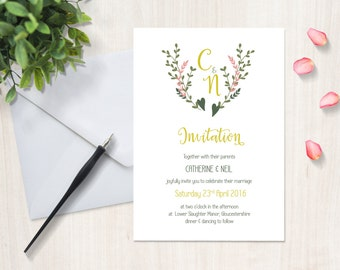 Floral calligraphy botanical wedding invitation, printed, gold foil optional, large A5 card