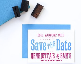 Letterpress Vintage Save the Date card with envelope, red and blue