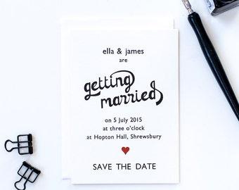 Vintage letterpress heart wedding save the date card with envelope
