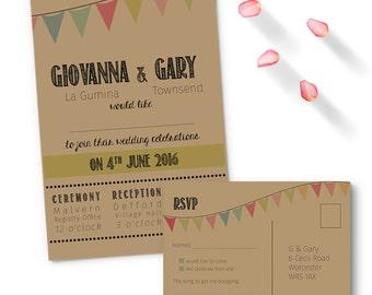 SAMPLE Kraft bunting wedding invitation with RSVP, free shipping