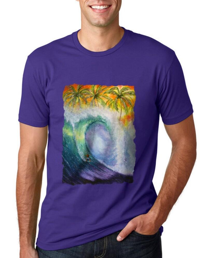 4a8c510453a Hawaii Surfing T-shirt, Tropical Beach Top, Tropical Sunset Shirt, Surfer  Apparel Gift, Surf Art Print, Surfboard Artwork, Surfing Gear