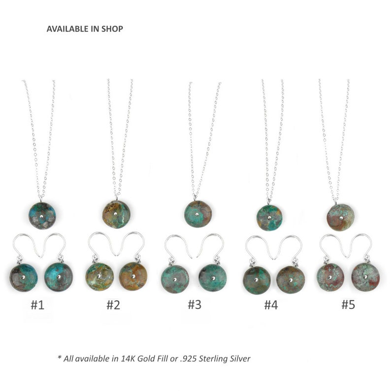 Chrysocolla Jewelry set Gemstone Bead Necklace set Turquoise Gemstone set Chrysocolla Necklace Earrings READY TO SHIP Gift gold silver