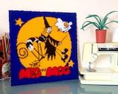 Hand knitted Meg and Mog giant square / plaque. Nostalgic children's book keepsake