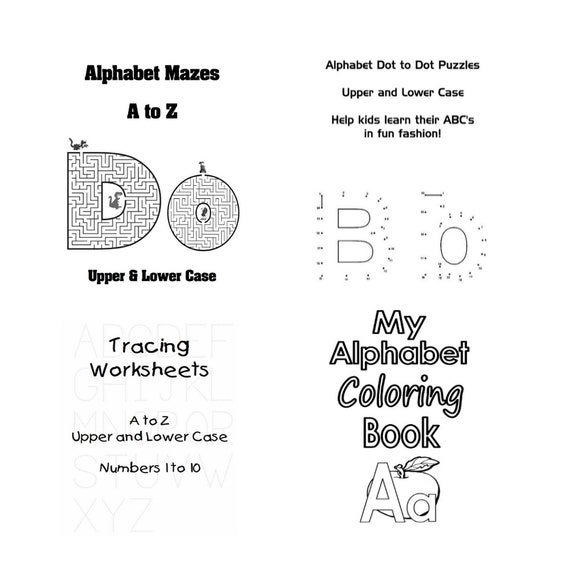 Alphabet Worksheets Mazes Dot To Dots Tracing Coloring Etsy
