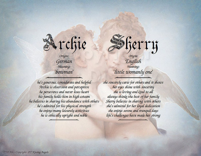 Kissing Angels First Name Meaning Photo Art Personalized