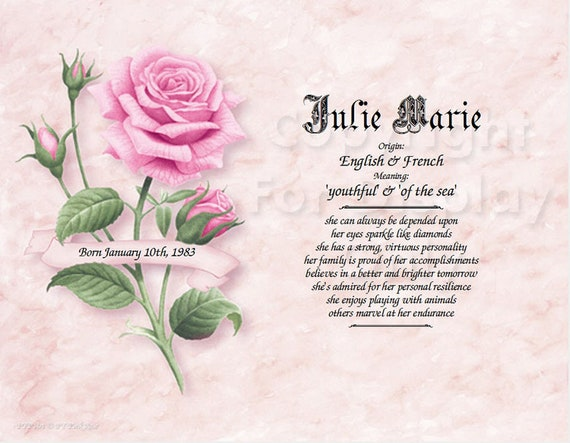Pink Rose First Name Meaning Photo Art Personalized Etsy