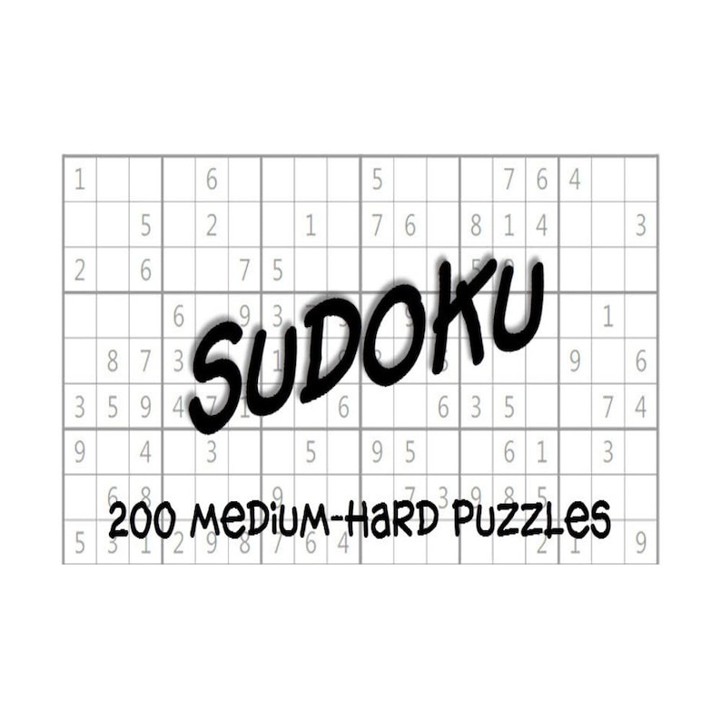 image about Printable Sudoku Pdf known as Medium-Demanding Sudoku Puzzles Alternative Keys e-Guide 200 Printable PDF Instantaneous Down load
