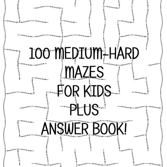 Medium-Hard Mazes Answer Keys 100 Printable Worksheets e ...