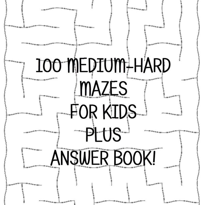Medium Hard Mazes Answer Keys 100 Printable Worksheets E Book Etsy