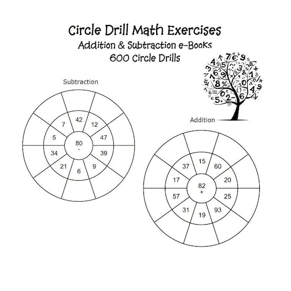 Circle Drill Math Exercises Addition Subtraction Worksheets PDF Instant  Download