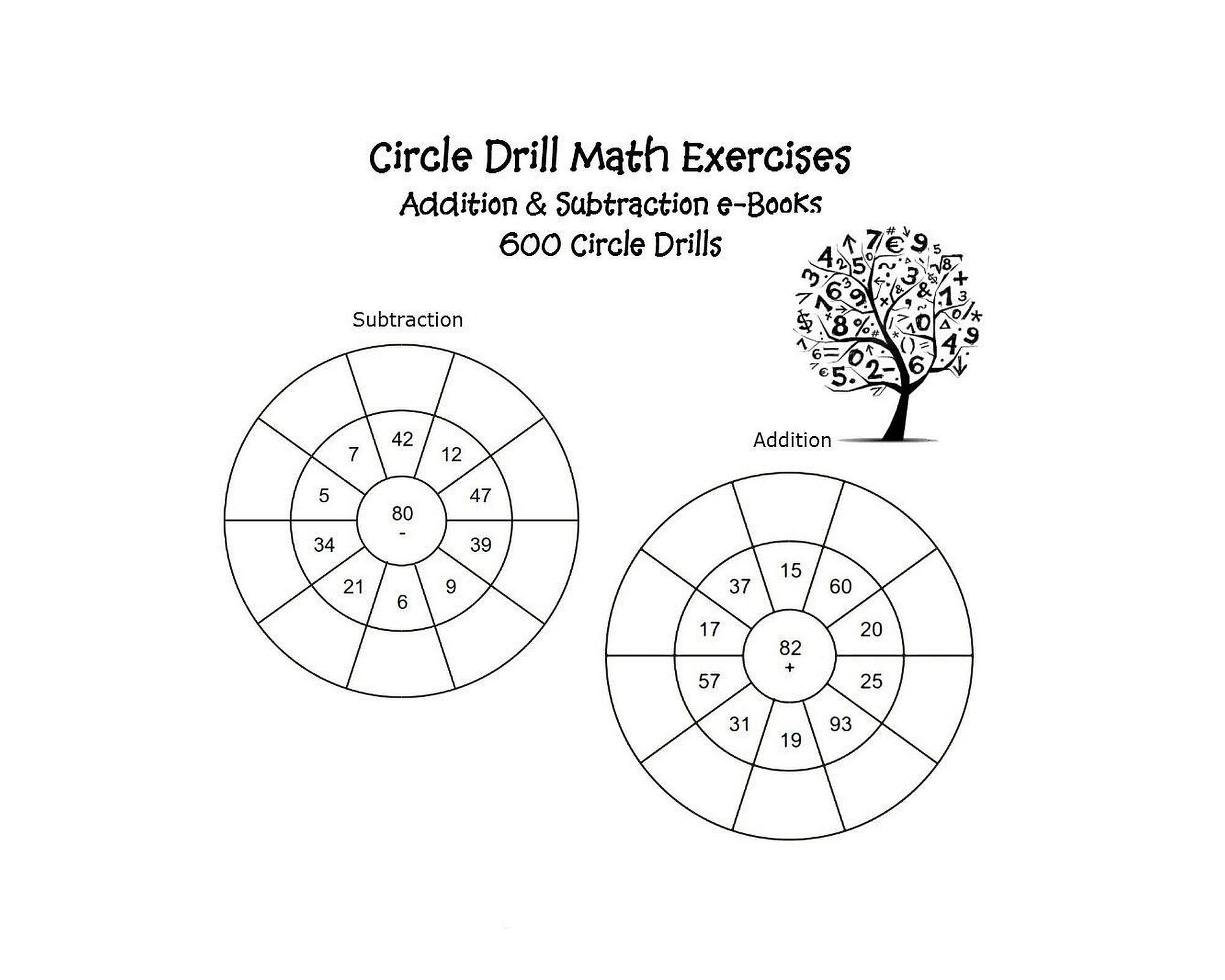 Circle Drill Math 600 Exercises Addition Subtraction Etsy Make addition circle drill