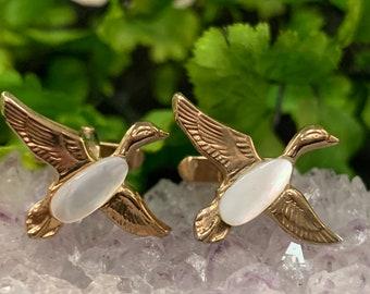 Silver Toned Textured Flying Mallard Duck Cufflinks