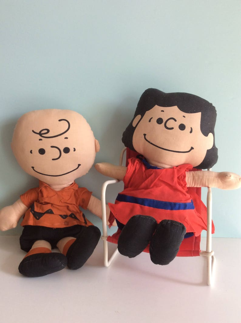 a3169276b1 1950 s Charlie Brown And Lucy Peanuts Rag Dolls and Snoopy