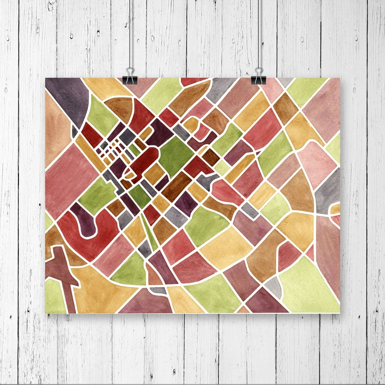 College Station Map Of Texas.College Station Map Texas A M University Watercolor Etsy