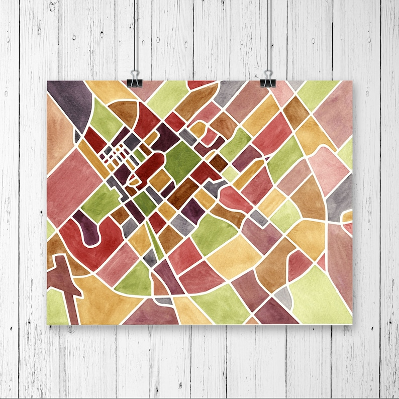 Map Of Texas Am.College Station Map Texas A M University Watercolor