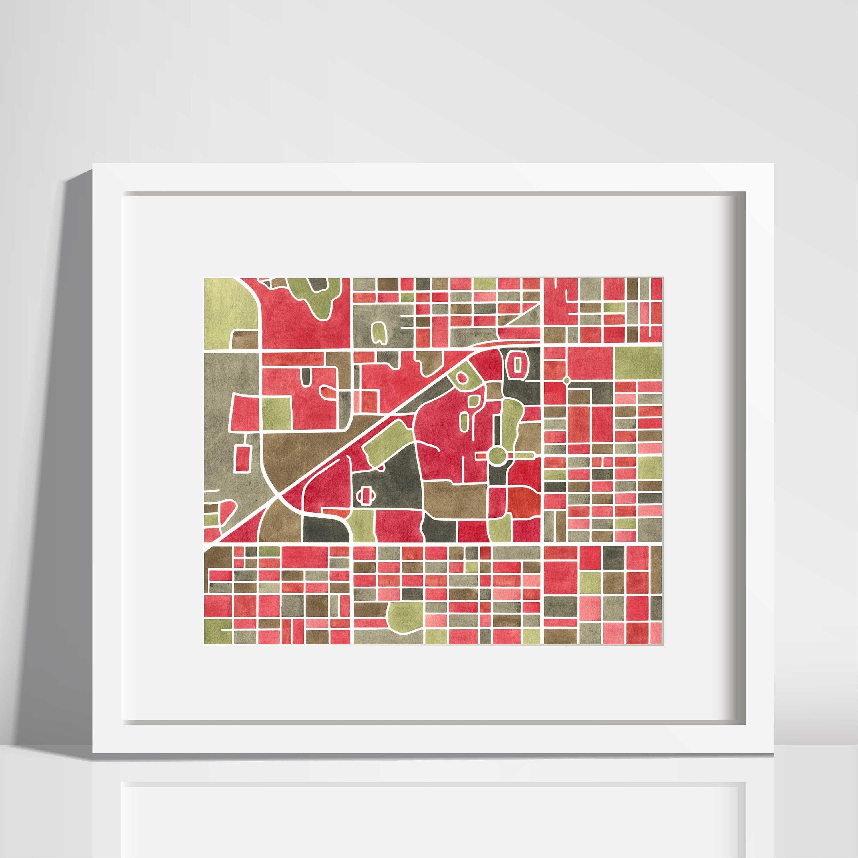 Texas Tech University campus map art Lubbock Texas map | Etsy