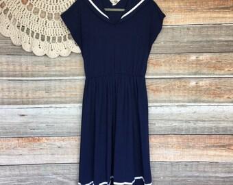 f1c552330e Vintage 1960s Sears Fashion Nautical Sailor Style Dress Womens Size Large