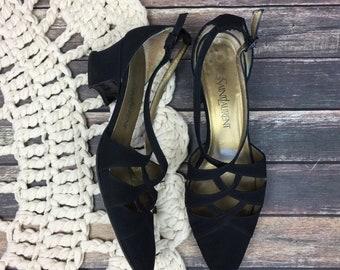 47d0ffc75c06 Yves Saint Laurent Vintage 80s Nylon Block Cutout Black Heels Womens Size 8