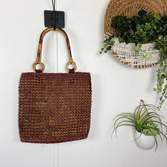 Vintage 1960s Crochet Straw Bamboo Handle Bag