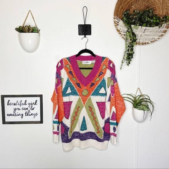 Vintage 1980s Carducci Patchwork Rainbow Sweater