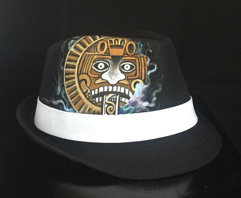 Hand Drawn Aztec calendar on a Fedora hat done with pastel  53357208056