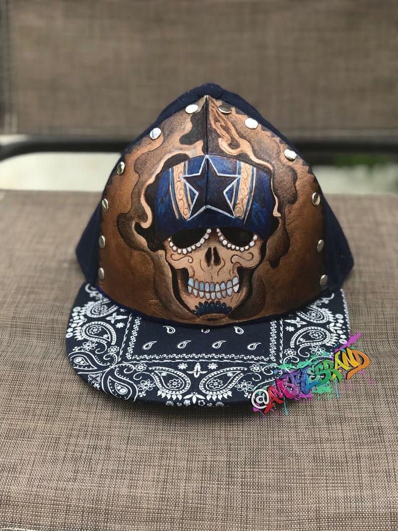 Genuine Leather Tooled Art on snapback hat Dallas Cowboys  763d84355
