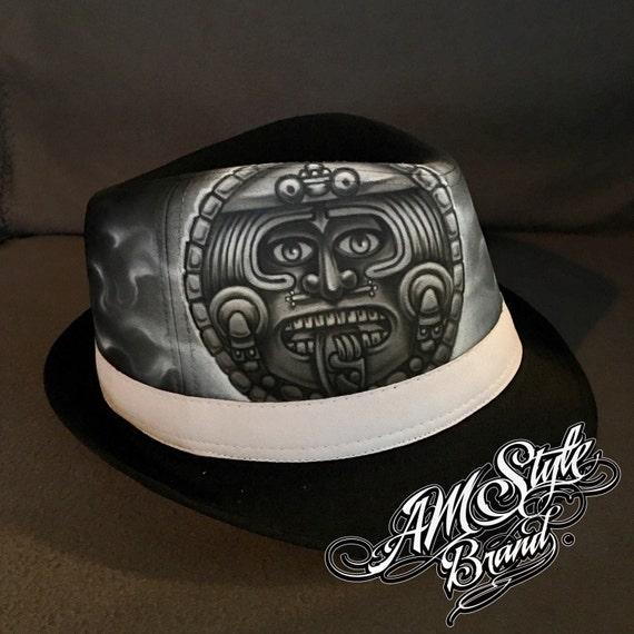 Airbrush Aztec Calendar Tattoo Style Airbrush Art Chicano Etsy