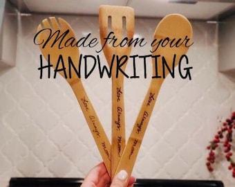 Custom your handwriting gift,  handwriting gift, engraved wood spoon, engrave handwritten gift, custom wood spoon, handwritten wooden spoons