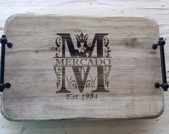 Personalized Wood serving tray with handles, Personalized Home Décor, monogram tray