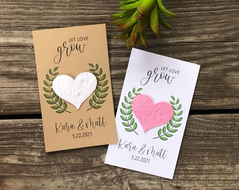 Plantable paper wedding favors, seed card favors, wedding card favors, favors for wedding, flower seed cards, eco friendly favors